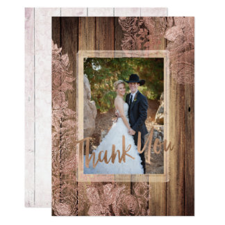 Rustic Wood Rose Lace Wedding Photo Thank You Card