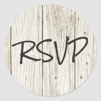 Rustic Wood RSVP Classic Round Sticker