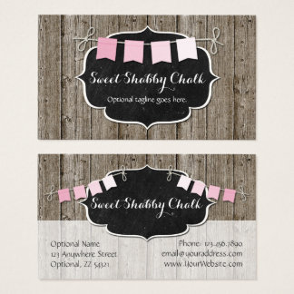 Rustic Wood & Shabby Chic Chalkboard Pink Bunting Business Card