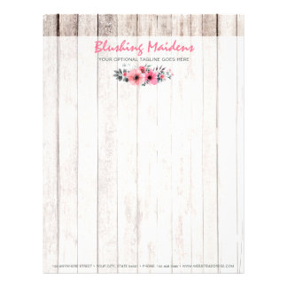 Rustic Wood Shabby Chic Pink Roses Anemone Floral Letterhead