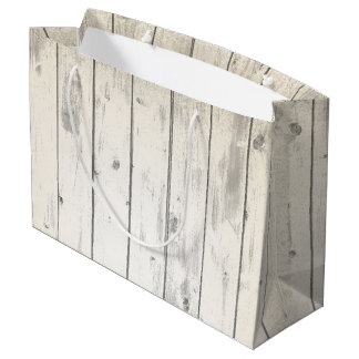 Rustic Wood Shabby Chic Weathered Barn Boards Large Gift Bag