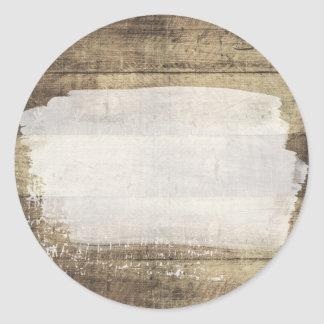 Rustic Wood Shabby Grunge Vintage Painted Boards Classic Round Sticker