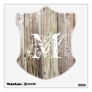 Rustic Wood Shield with Monogram Wall Decal
