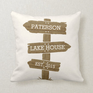 Rustic Wood Signpost Lake House Cabin Throw Pillow