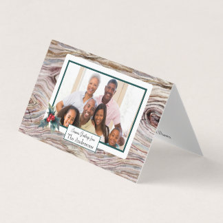 Rustic Wood Small Folded Holiday Photo Card