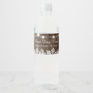 Rustic Wood Snowflakes String Lights Best Day Ever Water Bottle Label