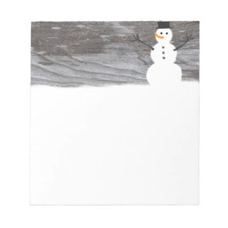 Rustic Wood Snowman Notepad