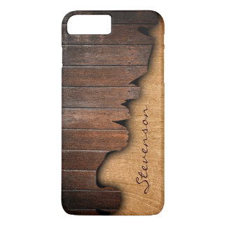 Rustic Wood Splintered Wood Look - Monogram Name iPhone 7 Plus Case