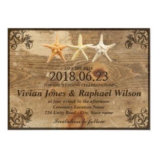"Rustic Wood & Starfish Beach Wedding Save The Date 5"" X 7"" Invitation Card"