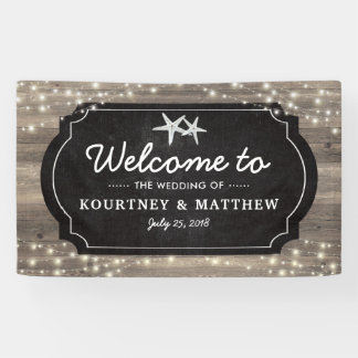 Rustic Wood Starfish Wedding | String of Lights Banner