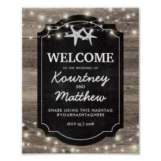 Rustic Wood Starfish Wedding | String of Lights Poster