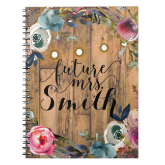 Rustic Wood Stick Floral Wreath Lights Future Mrs. Notebooks