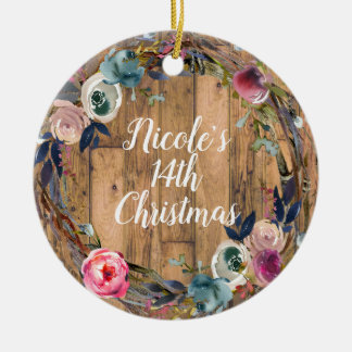 Rustic Wood Stick Floral Wreath Personalized Ceramic Ornament