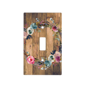 Rustic Wood Sticks Floral Modern Wreath Light Switch Cover