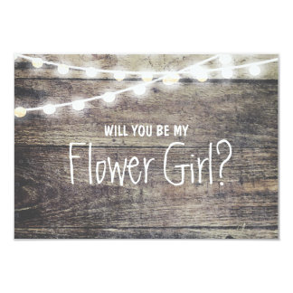 "Rustic wood string light Will you be my FlowerGirl 3.5"" X 5"" Invitation Card"