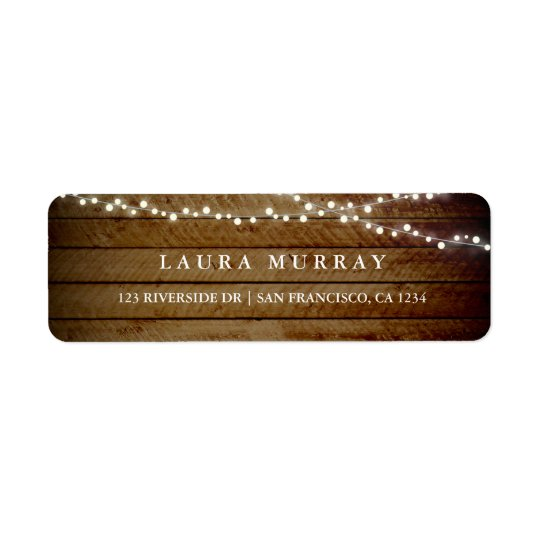 Rustic Wood String Lights Address Label