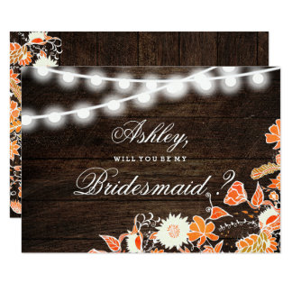 Rustic wood string lights fall floral bridesmaid card