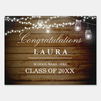 Rustic Wood String Lights Graduation Yard Sign