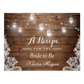 Rustic Wood String Lights Lace Bridal Recipe Card Postcard