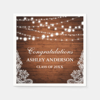 Rustic Wood String Lights Lace Graduation Party Paper Napkin