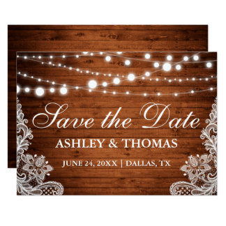 Rustic Wood String Lights Lace Save the Date Card