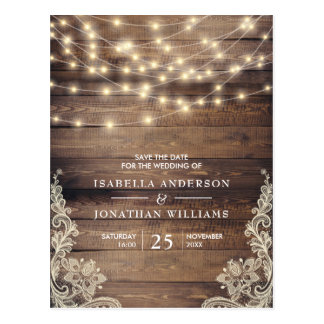 Rustic Wood & String Lights | Lace Save The Date Postcard