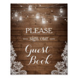 Rustic Wood String Lights Lace Sign Guestbook