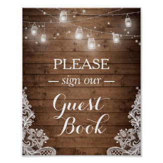 Rustic Wood String Lights Lace Sign Guestbook Poster