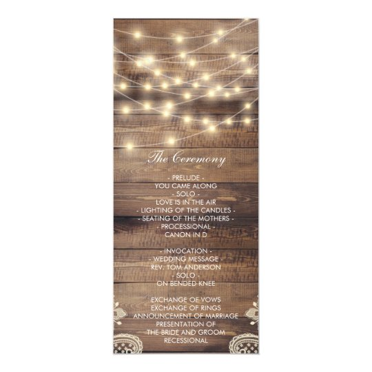 Rustic Wood & String Lights | Lace Wedding Program