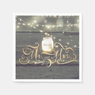Rustic Wood String Lights Mason Jar Wedding Disposable Napkins