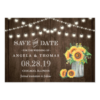 Rustic Wood String Lights Sunflowers Save the Date Card