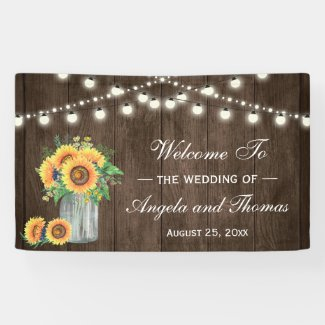 Rustic Wood String Lights Sunflowers Wedding Party Banner