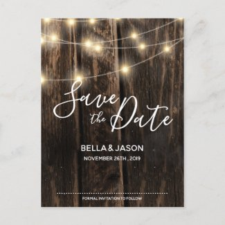 Rustic Wood String Lights Wedding Save The Date Invitation Postcard