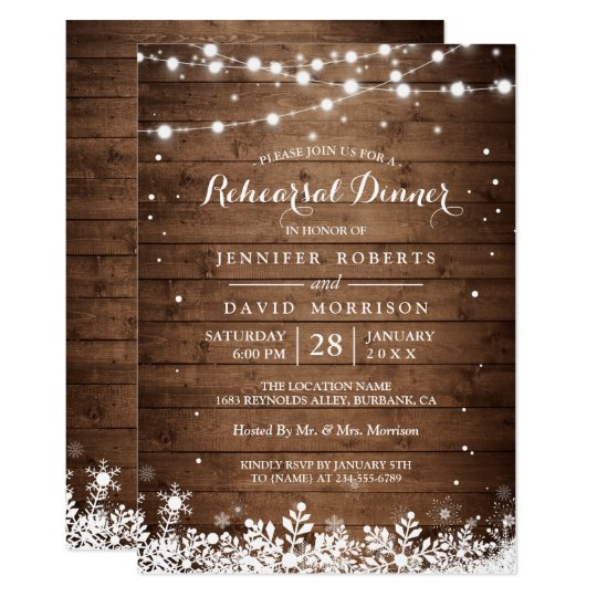 Rustic Wood String Lights Winter Rehearsal Dinner Card