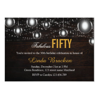 Rustic Wood String of Lights Fabulous Fifty Invite