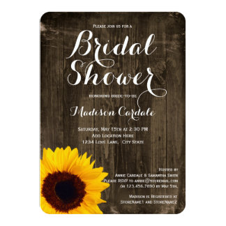 Rustic Wood Sunflower Bridal Shower Invitations
