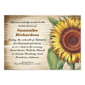 rustic wood & sunflower bridal shower invitations