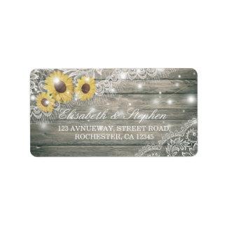 Rustic Wood Sunflower Elegant Lace Wedding Address