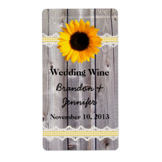 Rustic Wood & Sunflower Mini Wine Labels