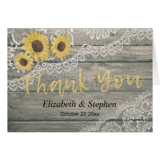 Rustic Wood Sunflowers Lace Barn Wedding Thank You Card