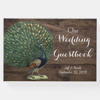 Rustic Wood Teal Feather Peacock Wedding Guest Book