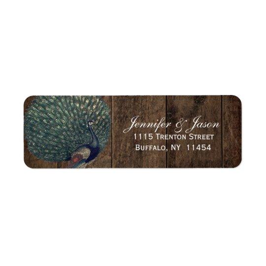 Rustic Wood Teal Feather Peacock Wedding Return Address Label