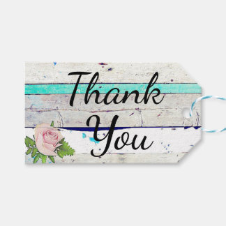Rustic Wood Teal, White and Pink Rose Thank You Gift Tags