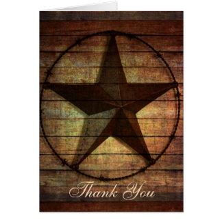 rustic wood texas star western wedding thank you card
