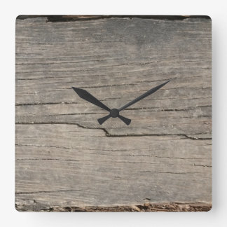 Rustic Wood Texture Square Wall Clock