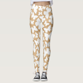 Rustic Wood Texture with Butterfly Pattern Leggings