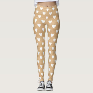Rustic Wood Texture with Hearts Pattern Leggings