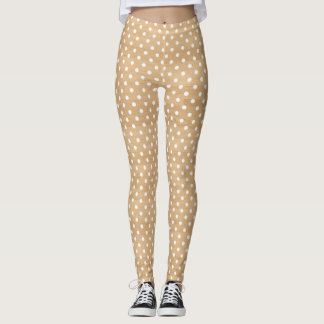Rustic Wood Texture with White Polka Dots Pattern Leggings