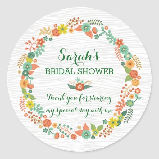Rustic Wood Tone Floral Wreath Bridal Shower Stickers