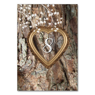 Rustic Wood, Tree Bark, Heart, Custom, Card